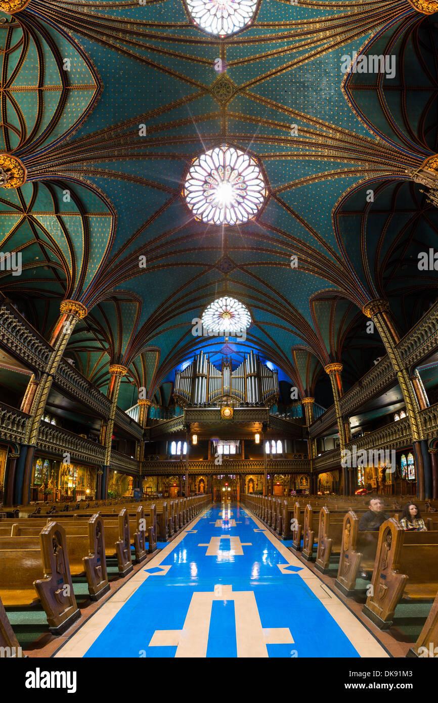 Intérieur de la cathédrale Notre-Dame et son orgue à Montréal, Canada. Photo Stock