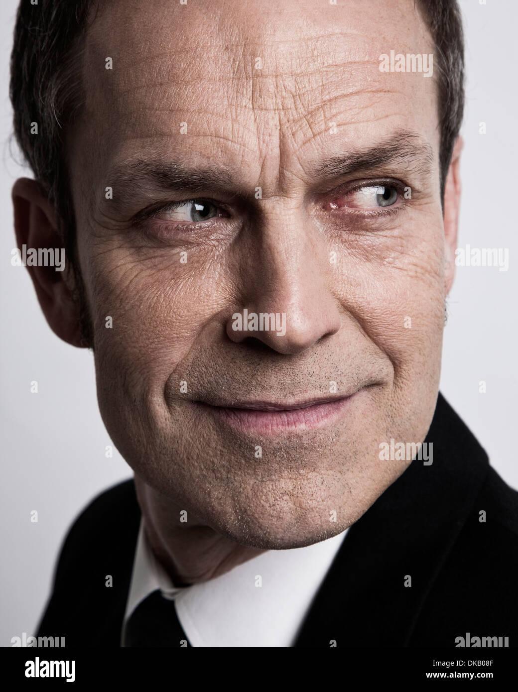 Close up of businessman à la sinistre Photo Stock
