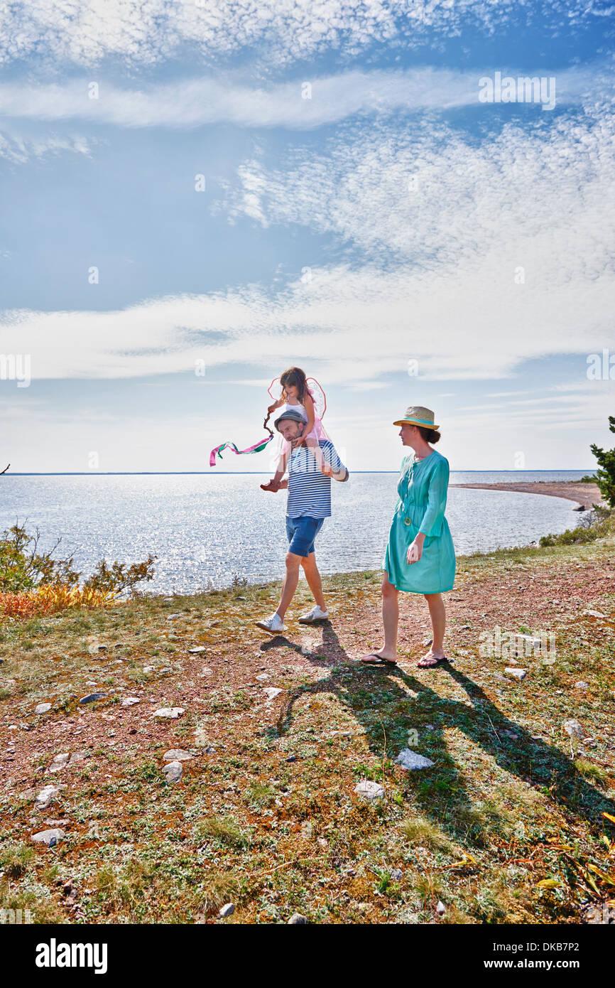 Balades en famille en mer, Eggergrund, Suède Banque D'Images
