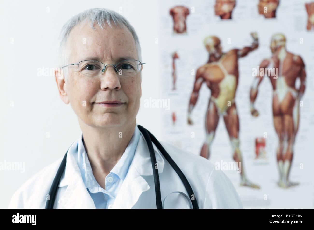 Une femme doc avec un muscle humain personne poster à l'arrière-plan, Photo Stock