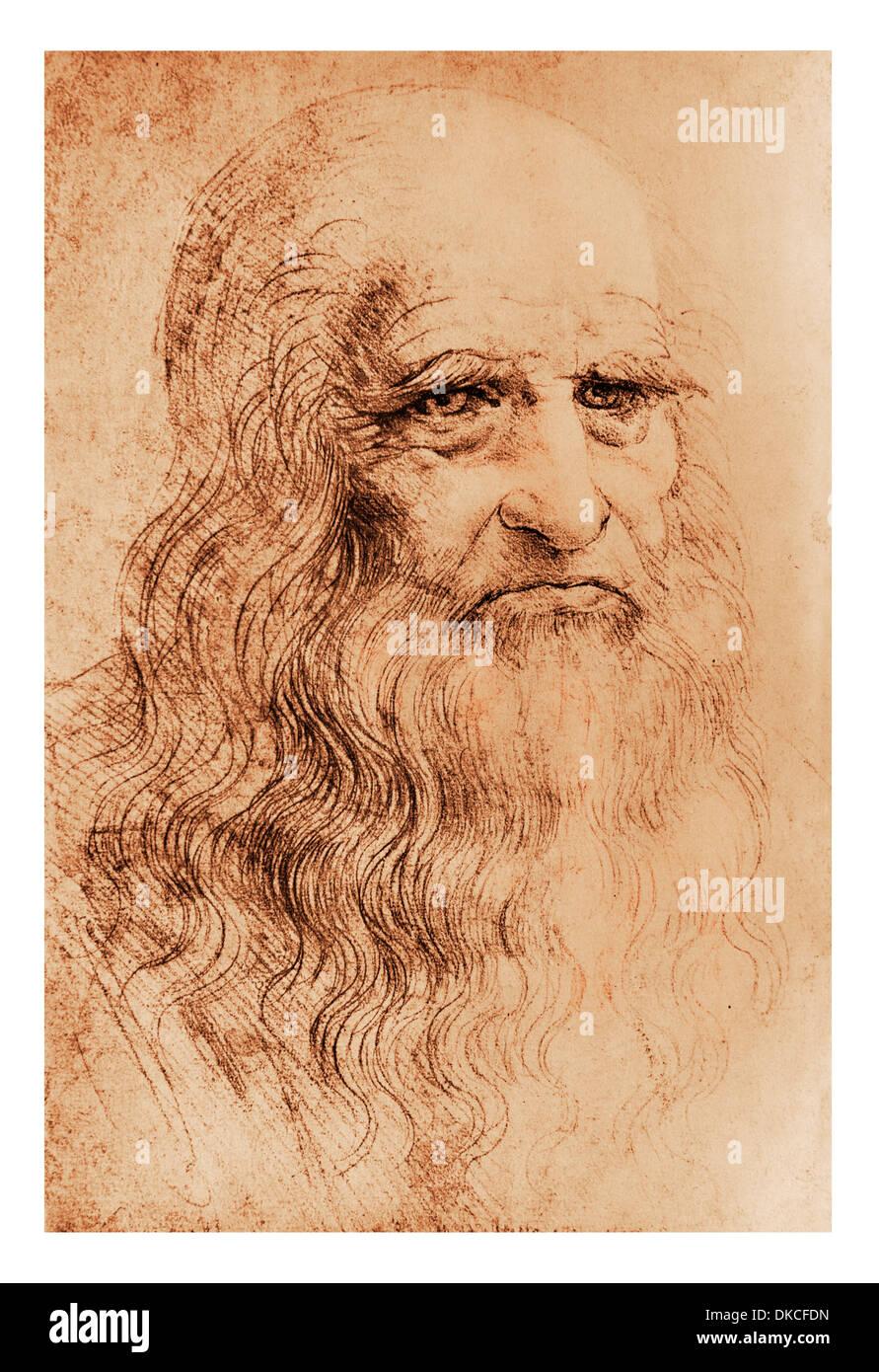 Un autoportrait de Léonard de Vinci en craie rouge - Bibliothèque royale de Turin Photo Stock