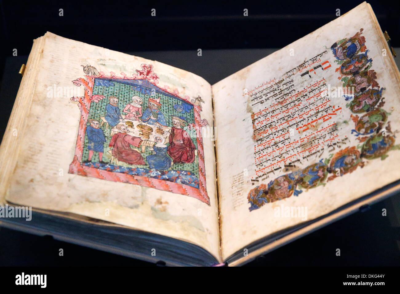 L'Erna Michael Haggada de Allemagne en date du 1400, le Musée d'Israël, Jérusalem, Israël, Moyen Orient Photo Stock
