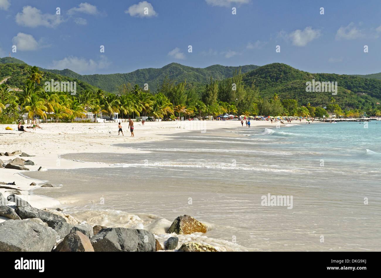 Jolly Beach, Antigua, Petites Antilles, dans les Caraïbes, l'Amérique Photo Stock