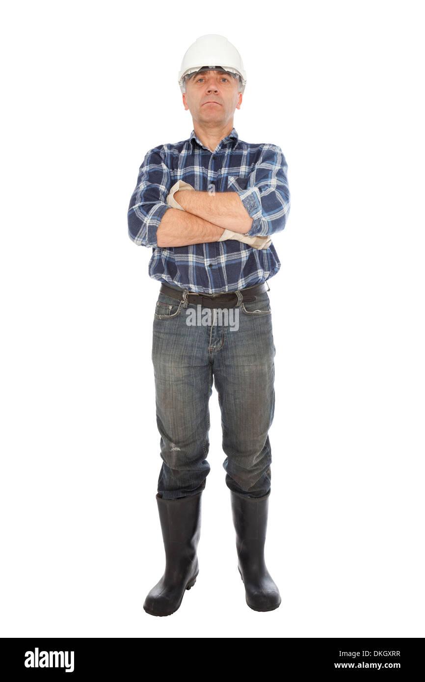 Chômeur dans les gants et casque sur fond blanc Photo Stock