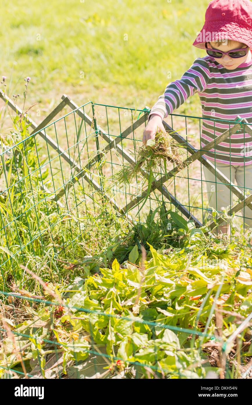 Vue avant du jeune enfant en aidant le jardin aux corvées. Remplissage du bac à compost avec des plantes et des fleurs. Photo Stock