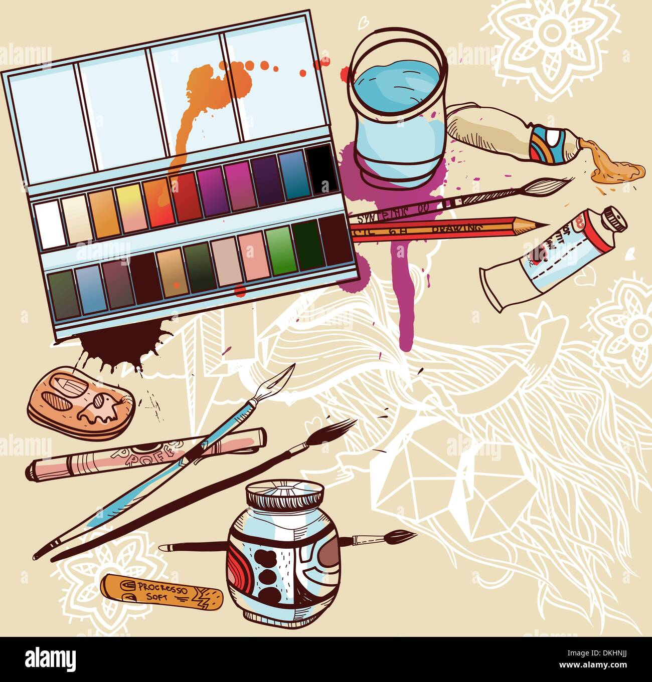 Vector illustration d'outils artistiques Photo Stock