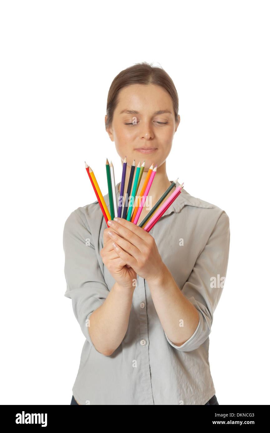 Le choix de femme crayon de couleur Photo Stock