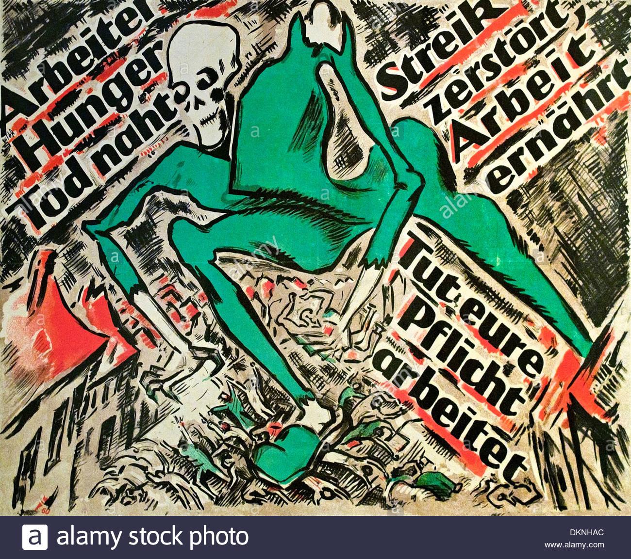 Les travailleurs de la faim et de la mort 1919 Heinz Fuchs 1886-1961 Allemand Allemagne Photo Stock