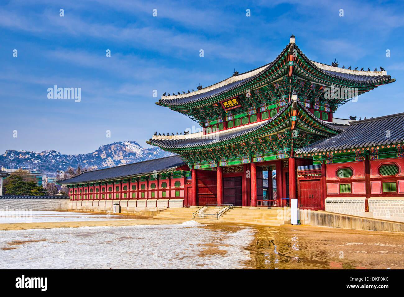Gyeongbokgung Palace motif à Séoul, Corée du Sud. Photo Stock