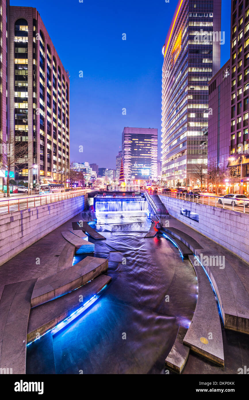 Séoul, Corée du Sud, à Cheonggyecheon Stream. Banque D'Images