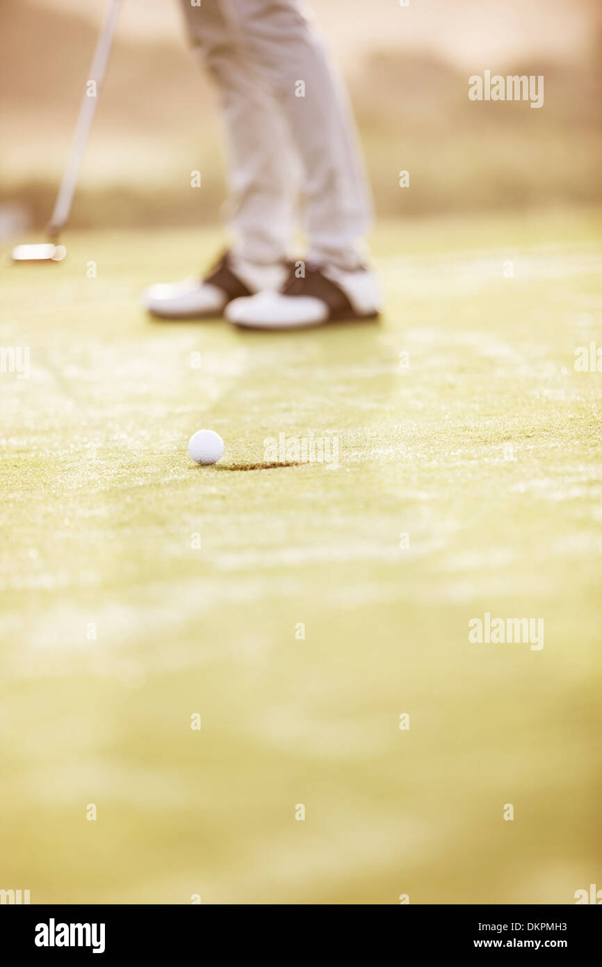 Man putting on golf course Photo Stock