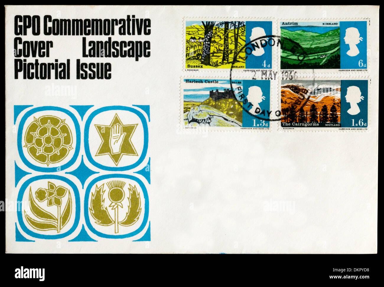 GPO 1966 Couvercle illustré commémoratif du paysage. Photo Stock