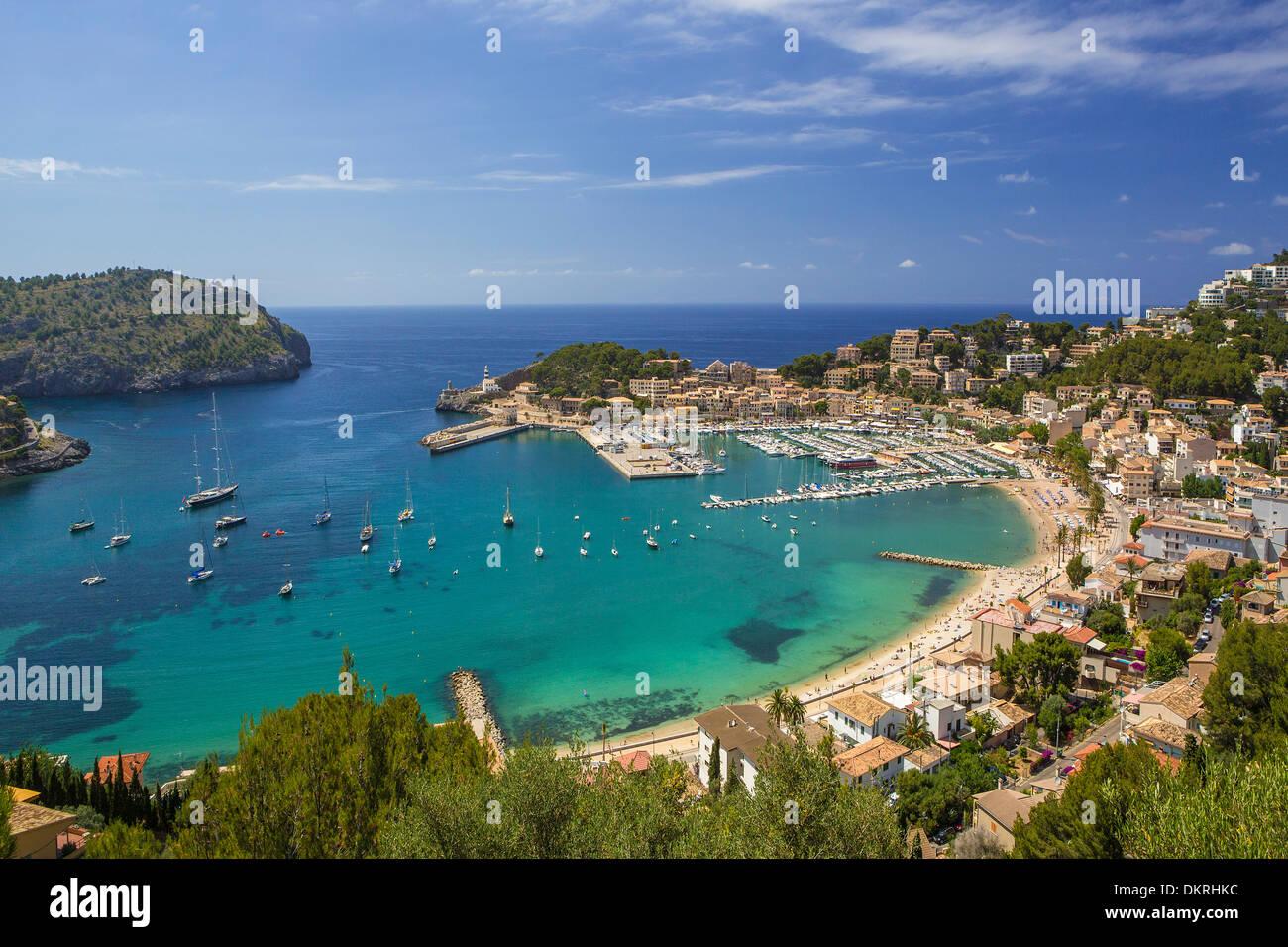 Majorque Baléares architecture bleu paysage ville port de plaisance de l'île méditerranéenne port soller Espagne Europe touristic Banque D'Images