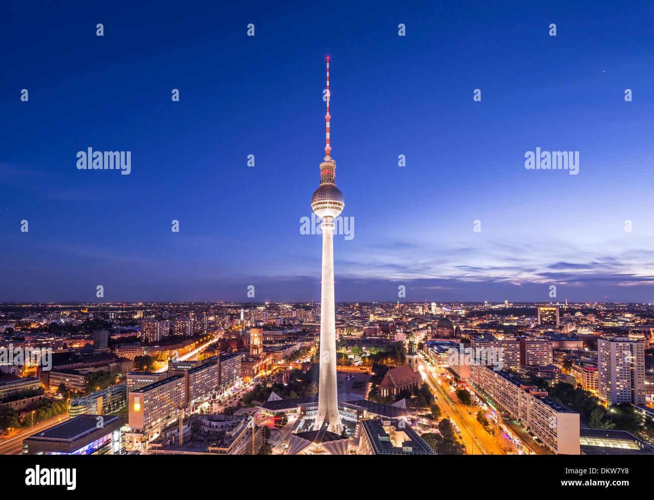 Paysage urbain de Berlin, Allemagne, à l'Alexanderplatz. Photo Stock