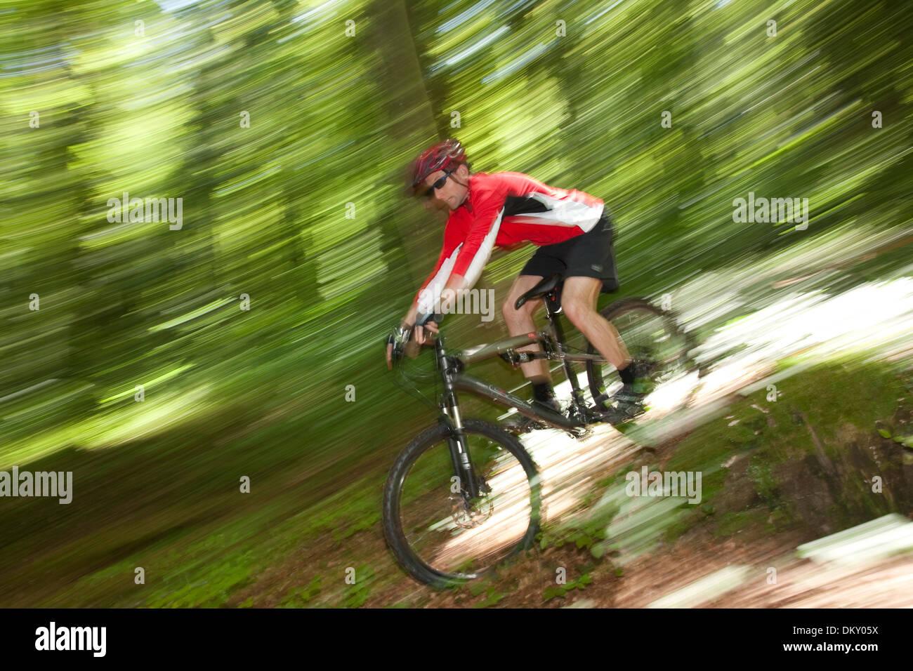 Suisse Europe canton JU Jura vtt roue de vélo location location bicyclettes la bicyclette bois forêt bois homme Banque D'Images
