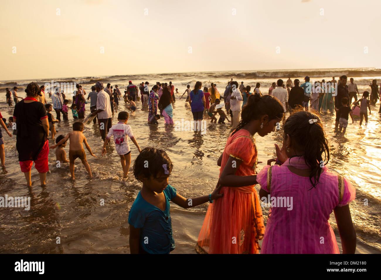 La plage de Juhu - Mumbai (Bombay), Inde Photo Stock