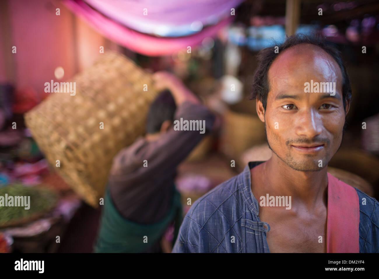 Le marché à Pyin Oo Lwin, Highland Shan, Myanmar (Birmanie) Photo Stock