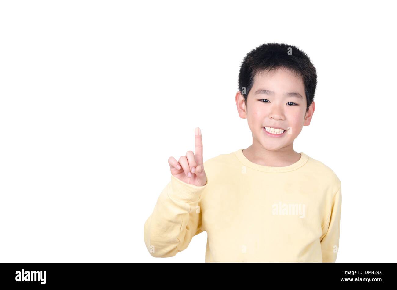 Happy Young boy avec bonne idée Banque D'Images