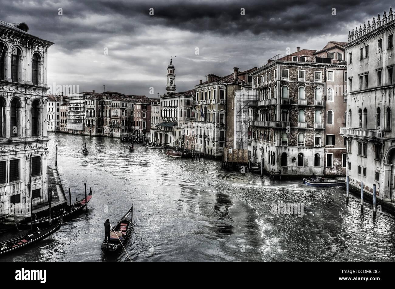 Sur le Grand Canal à Venise, Italie Photo Stock