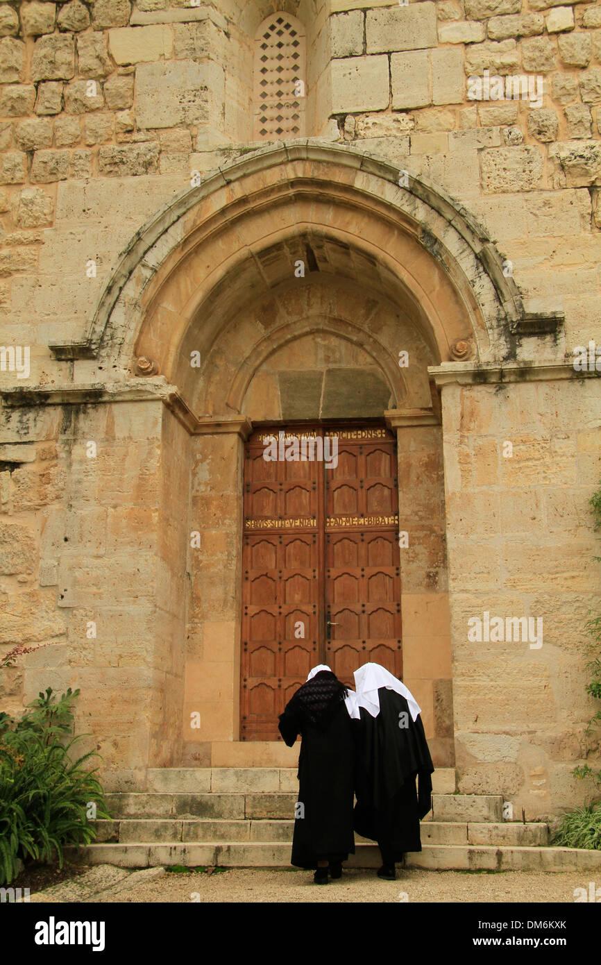 Israël, l'Église des Croisés bénédictin à Abu Gosh Photo Stock