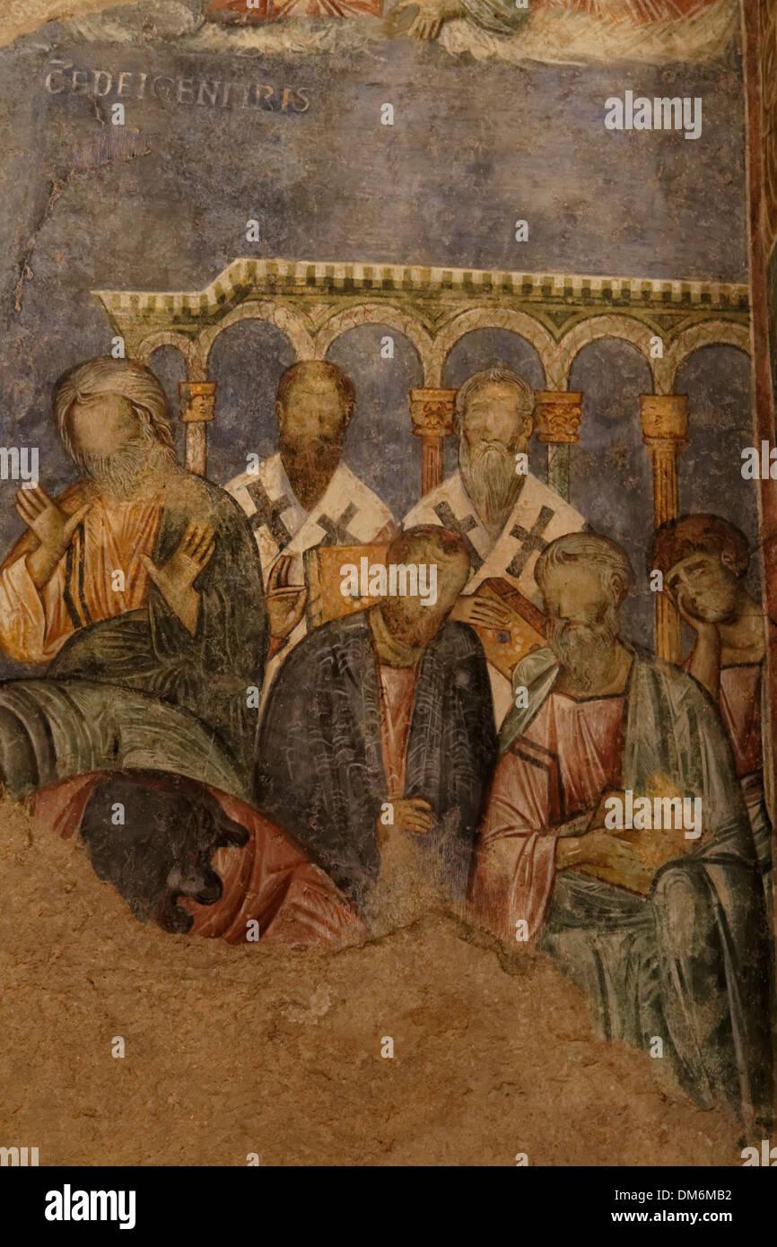 Israël, fresques à l'Église des Croisés bénédictine à Abu Gosh Photo Stock