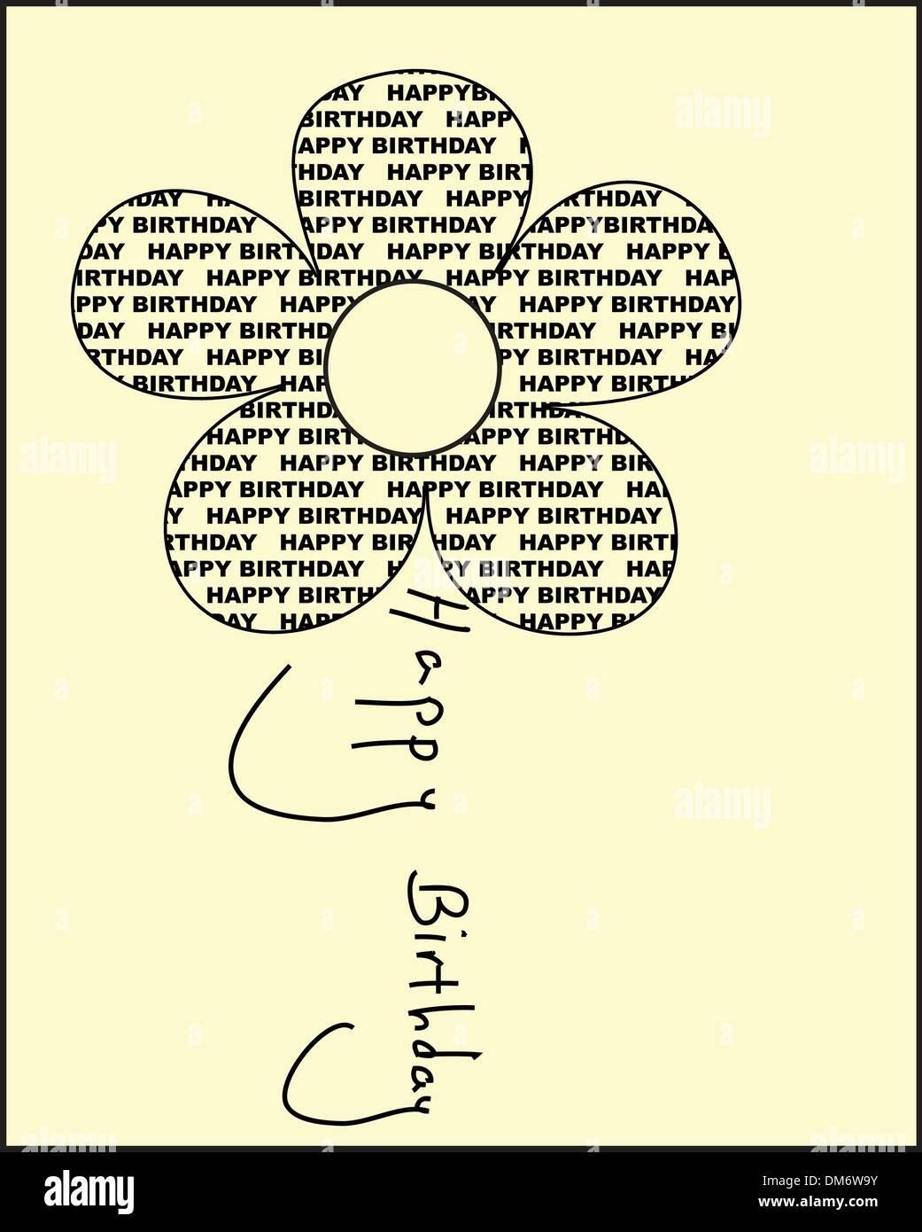 Joyeux anniversaire fleur Illustration de Vecteur