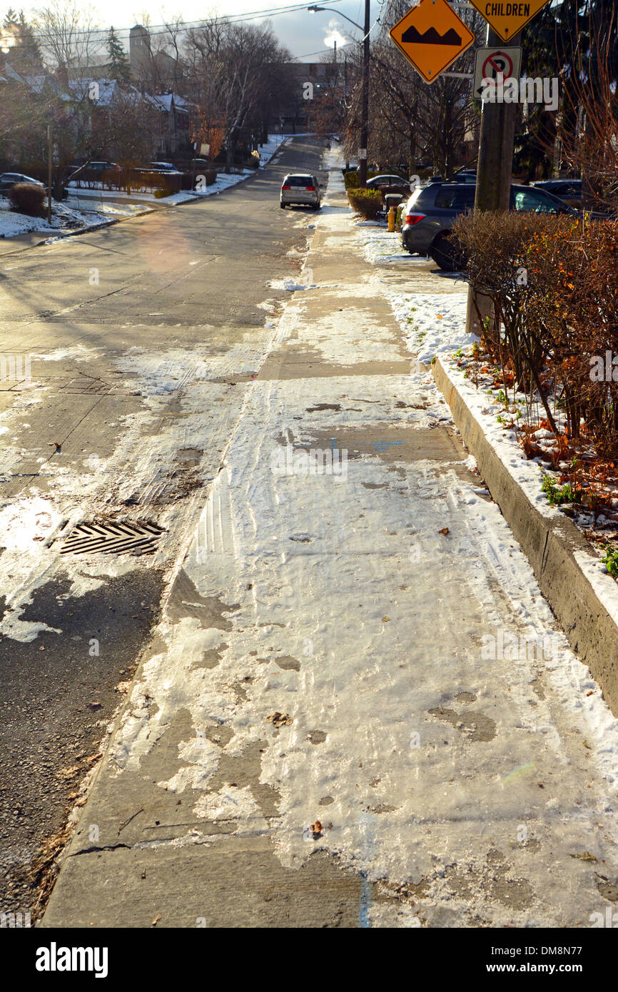 Trottoir glacé Toronto, Canada Photo Stock