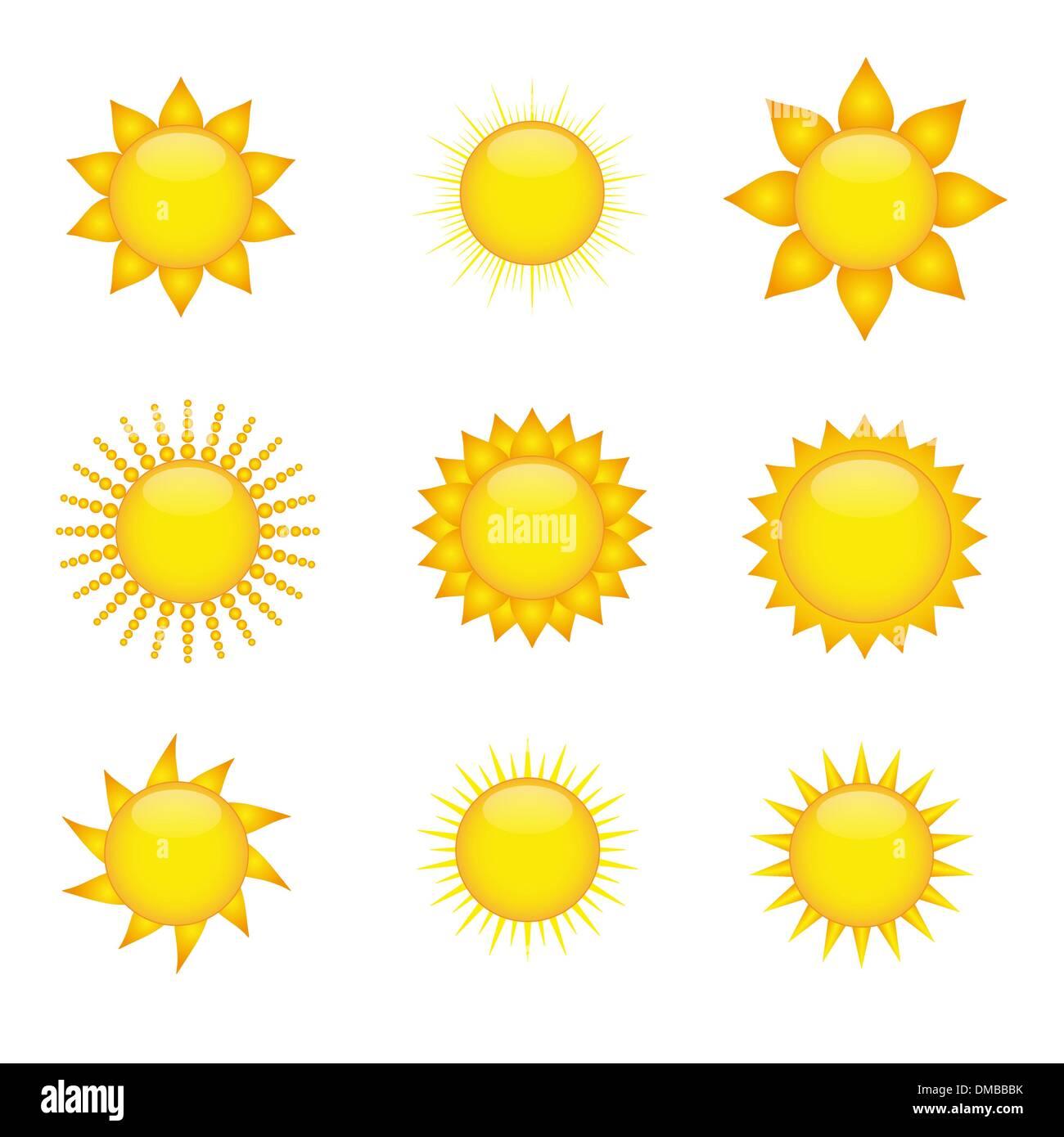 Icônes de soleil Illustration de Vecteur