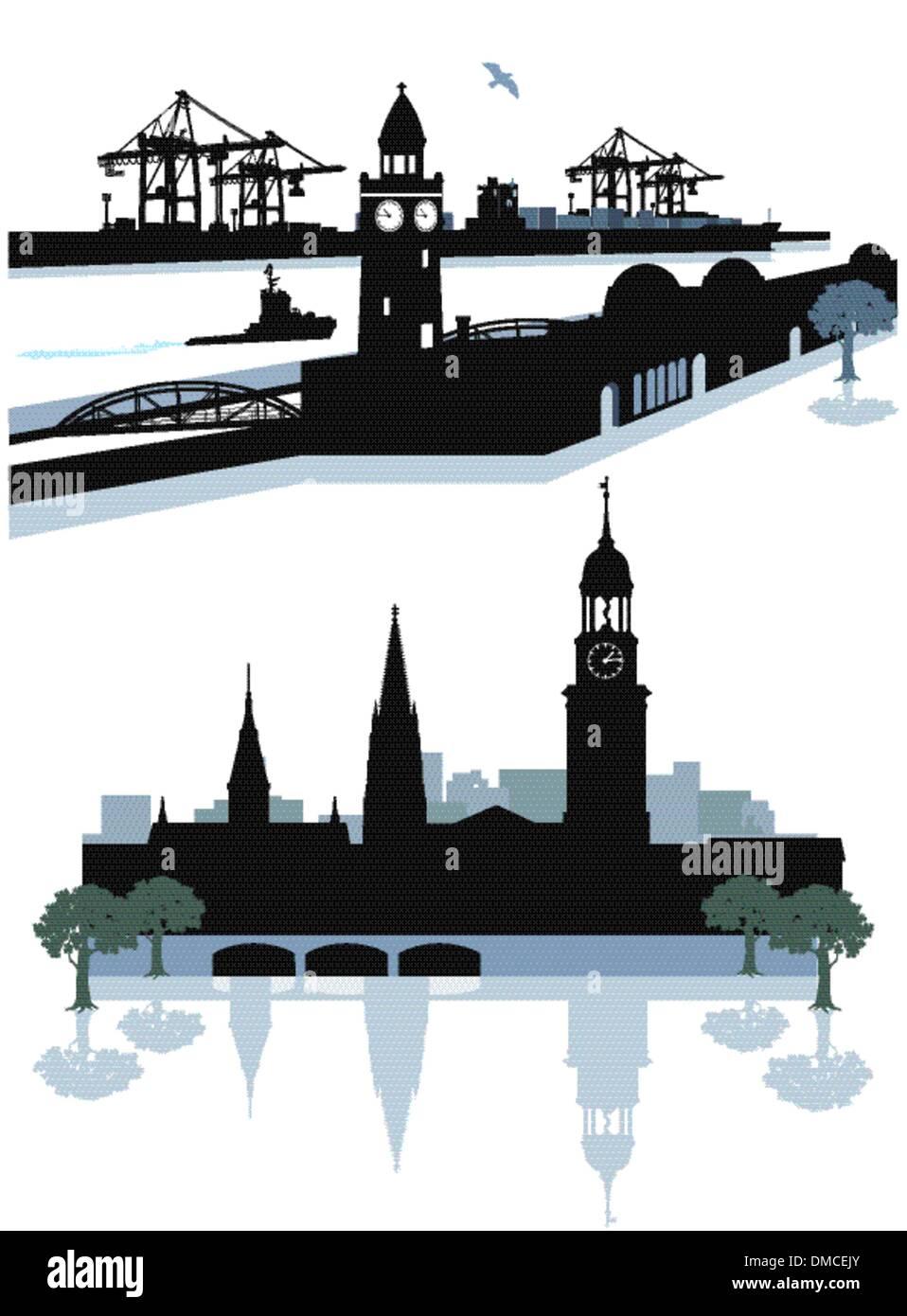 Silhouette de Hambourg Photo Stock