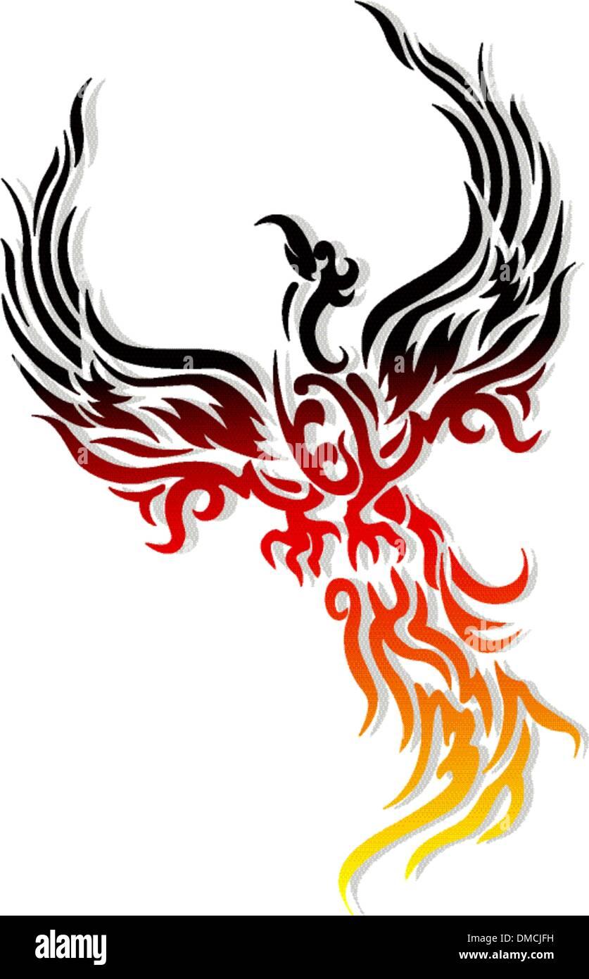 Mythique Oiseau Phoenix Tatouage Vecteurs Et Illustration