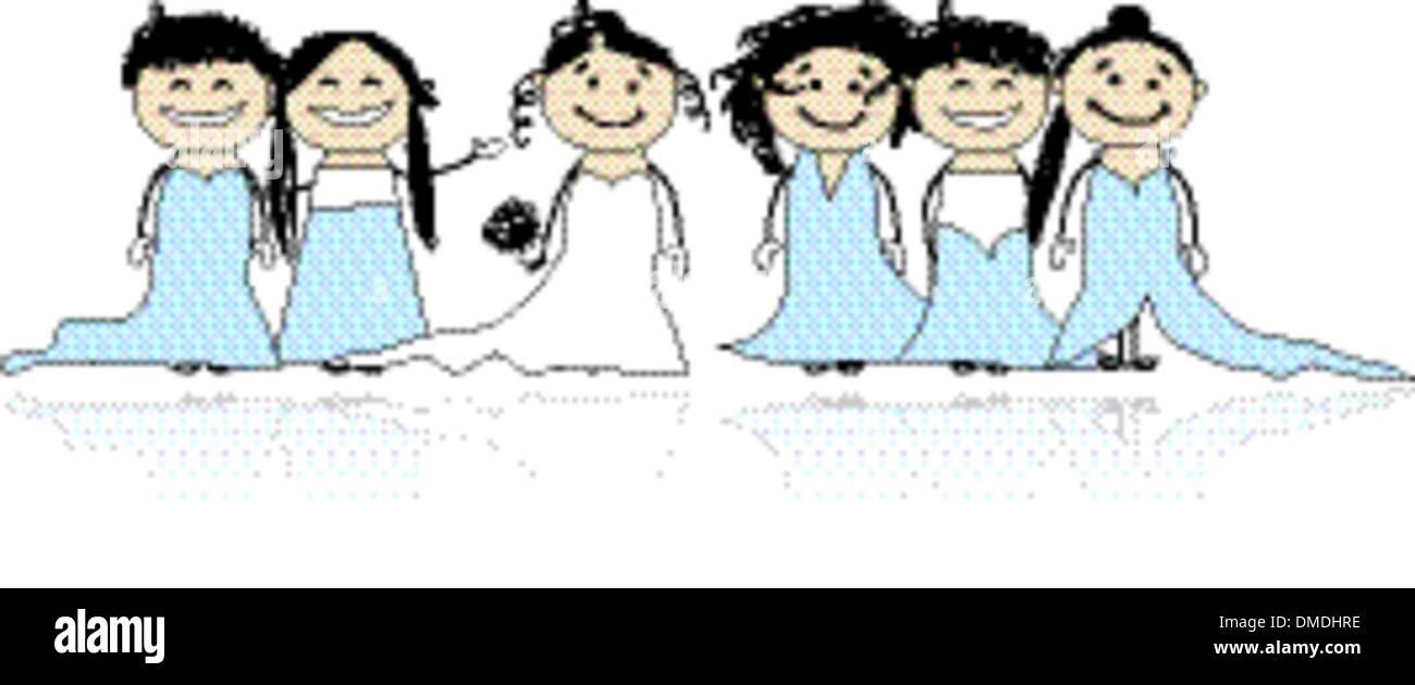 Mariée avec demoiselles pour votre conception Illustration de Vecteur