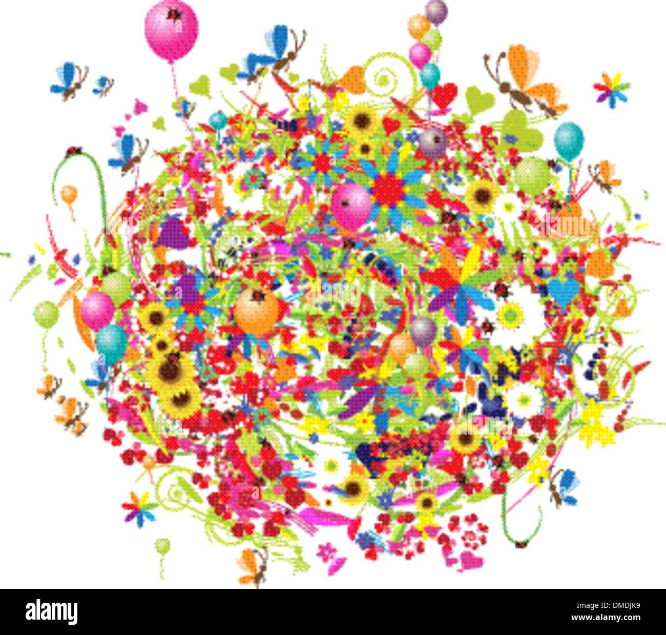 Bonnes Vacances Drole Bouquet Avec Ballons Image Vectorielle Stock Alamy