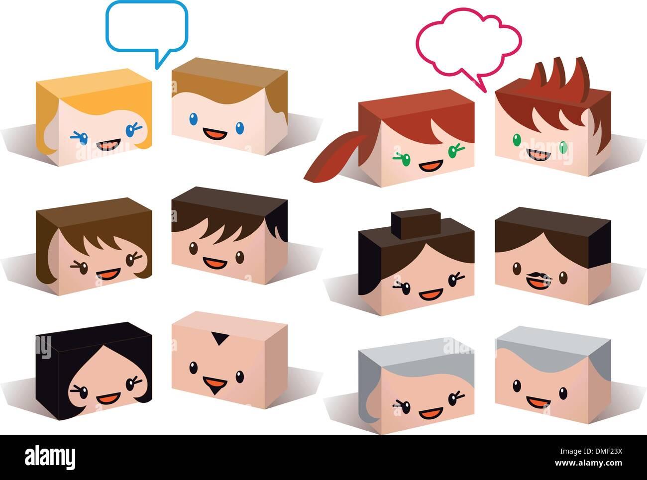 Les chefs d'avatar, les gens vector icon set Illustration de Vecteur