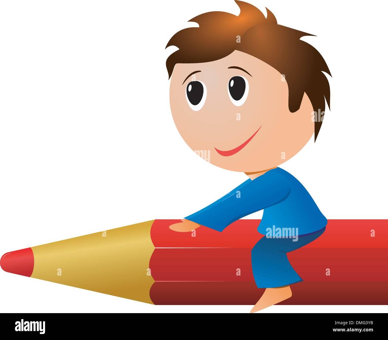 Petit garçon un crayon vector photo stock