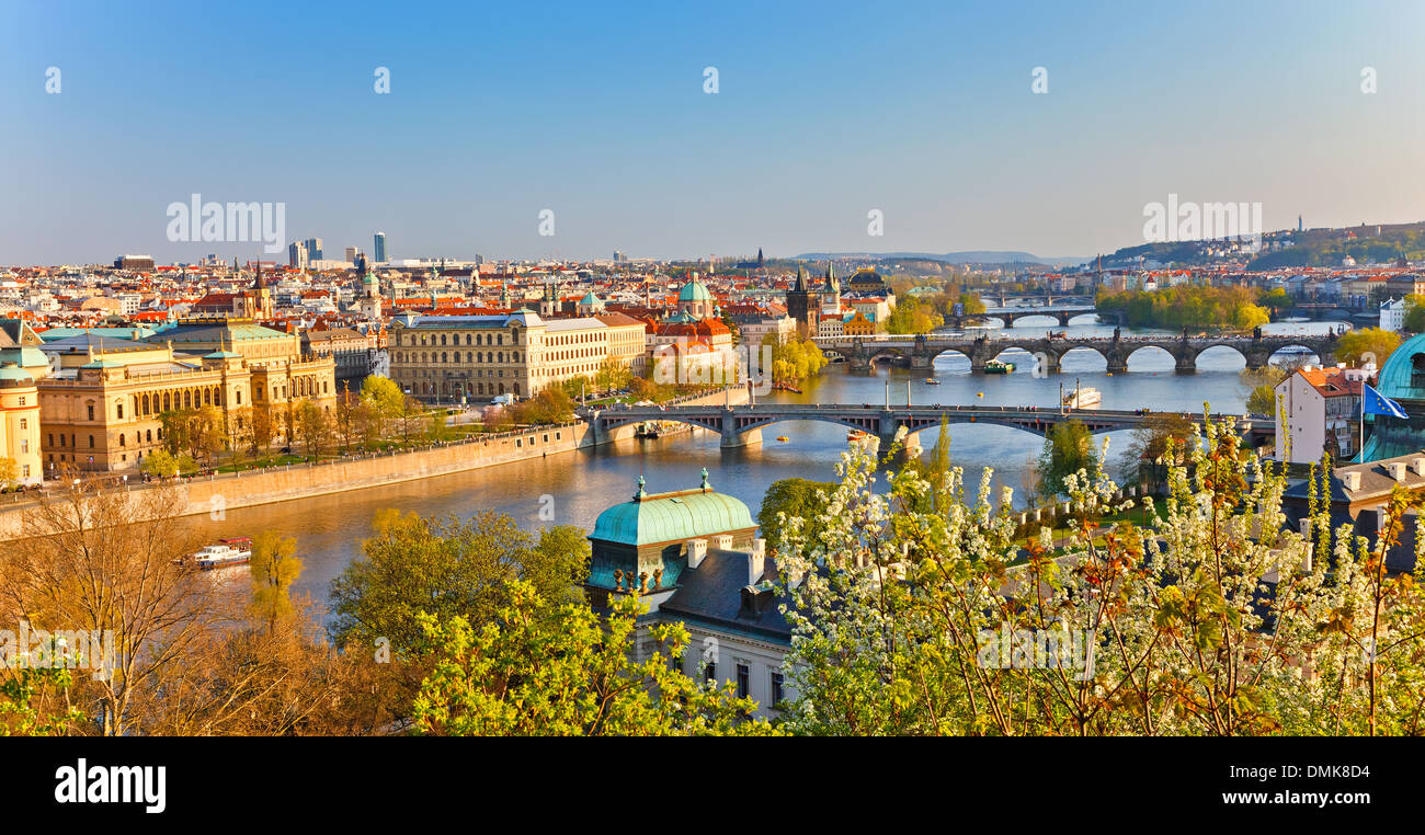 Prague au coucher du soleil Photo Stock