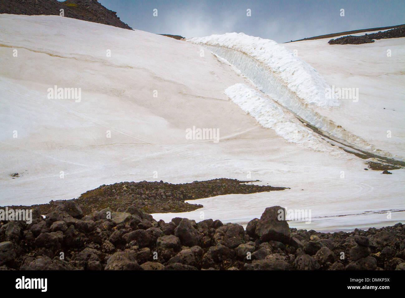 Paysage DE GLACIER SNAEFELLSJOKULL STRATOVOLCAN, ZONE GÉOTHERMIQUE DE LA PÉNINSULE DE SNÆFELLSNES, AU NORD-OUEST DE L'Islande, de l'EUROPE Photo Stock