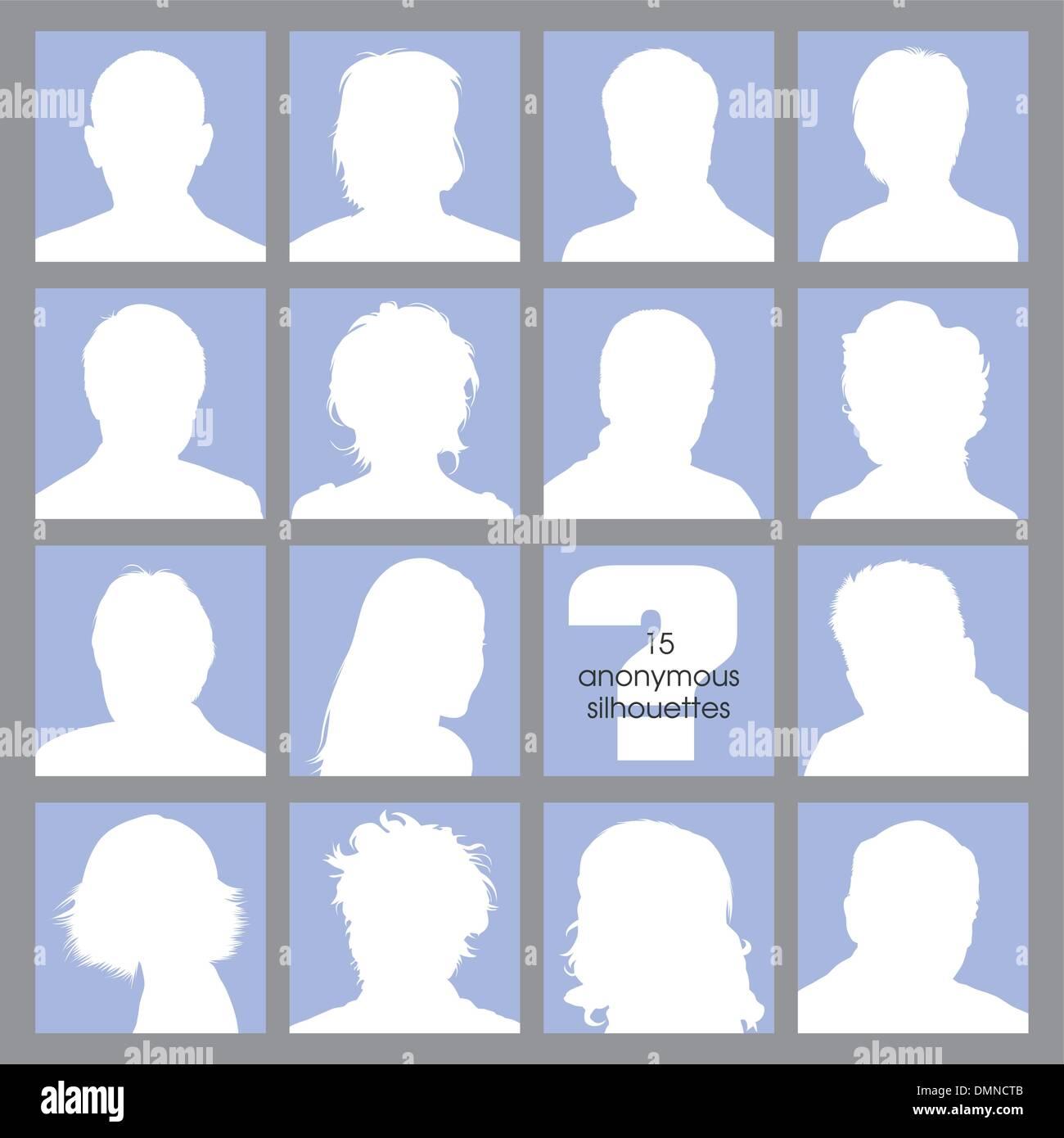 15 Réseaux sociaux Avatars anonymes Photo Stock