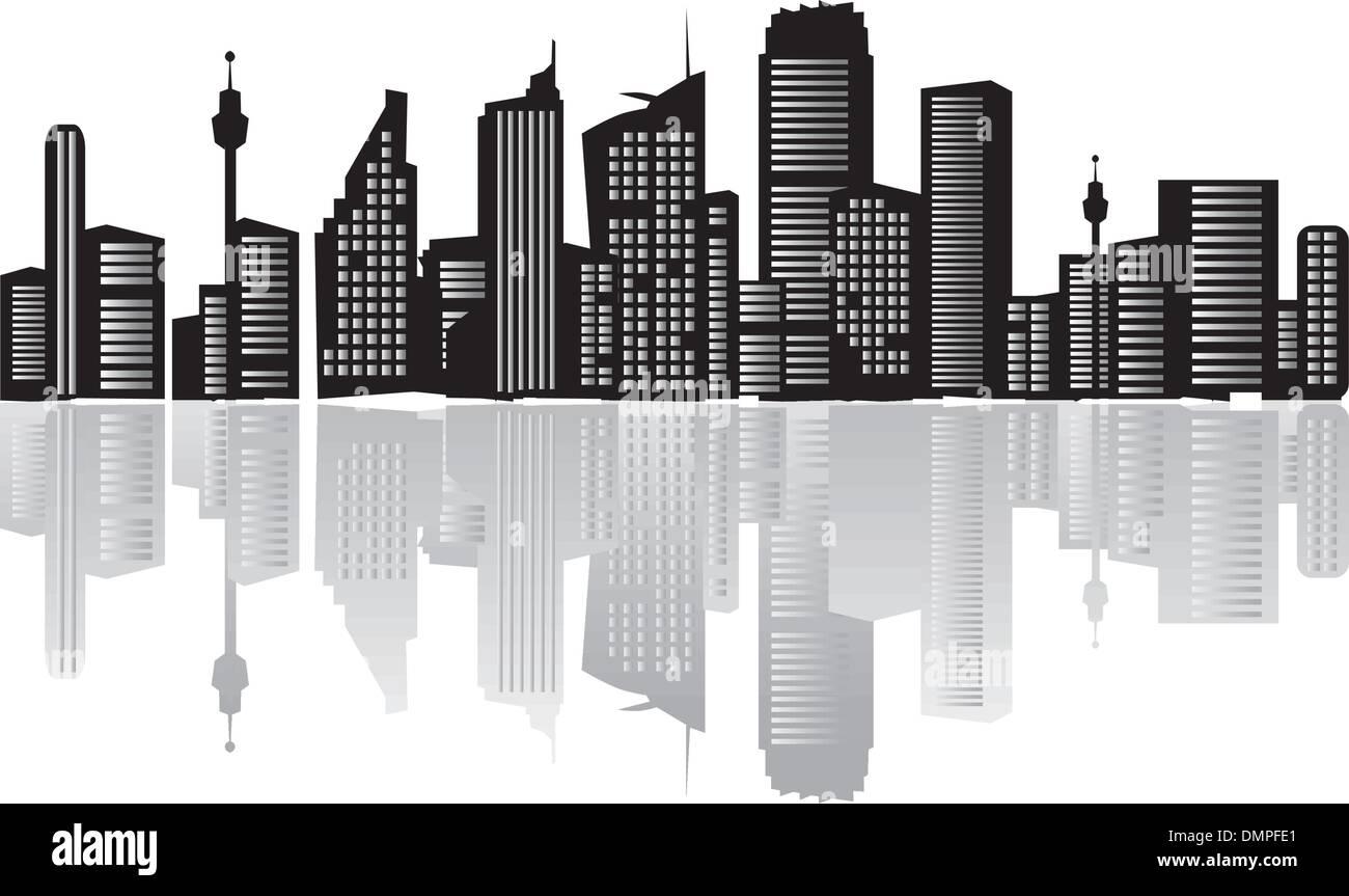 Paysage de ville, silhouettes de maisons black Illustration de Vecteur