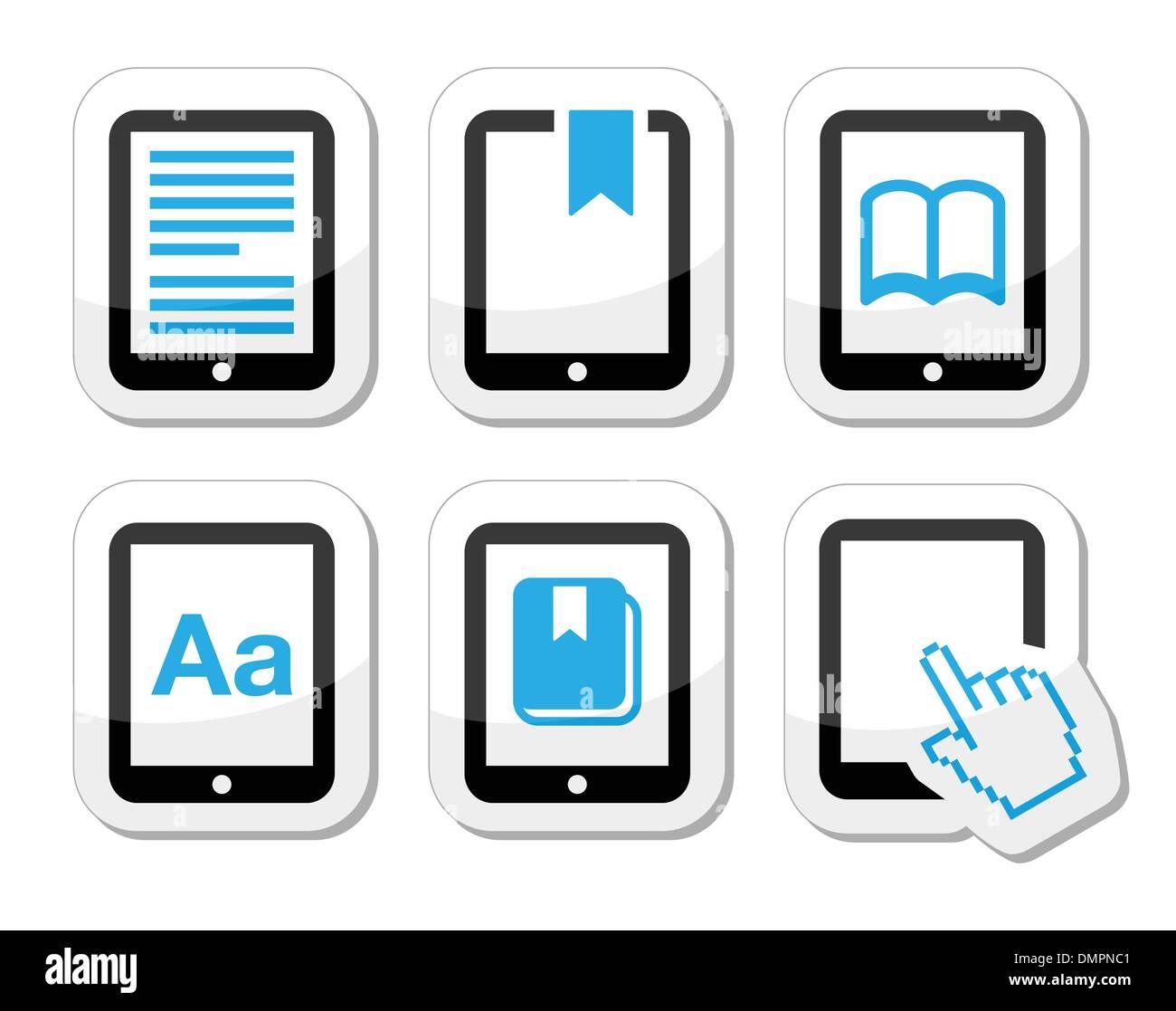 E-book reader, e-reader vector icons set Photo Stock