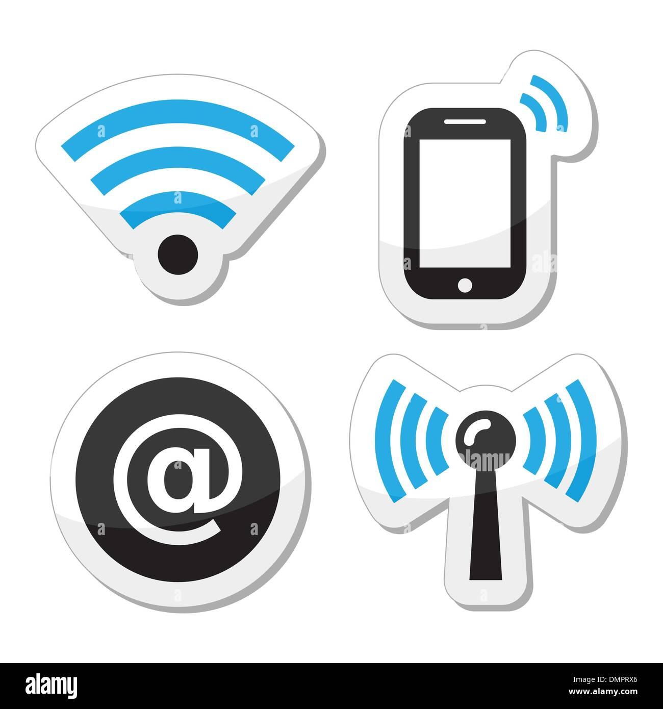 Connexion Wi-Fi au réseau local, réseau zone internet icons set Photo Stock