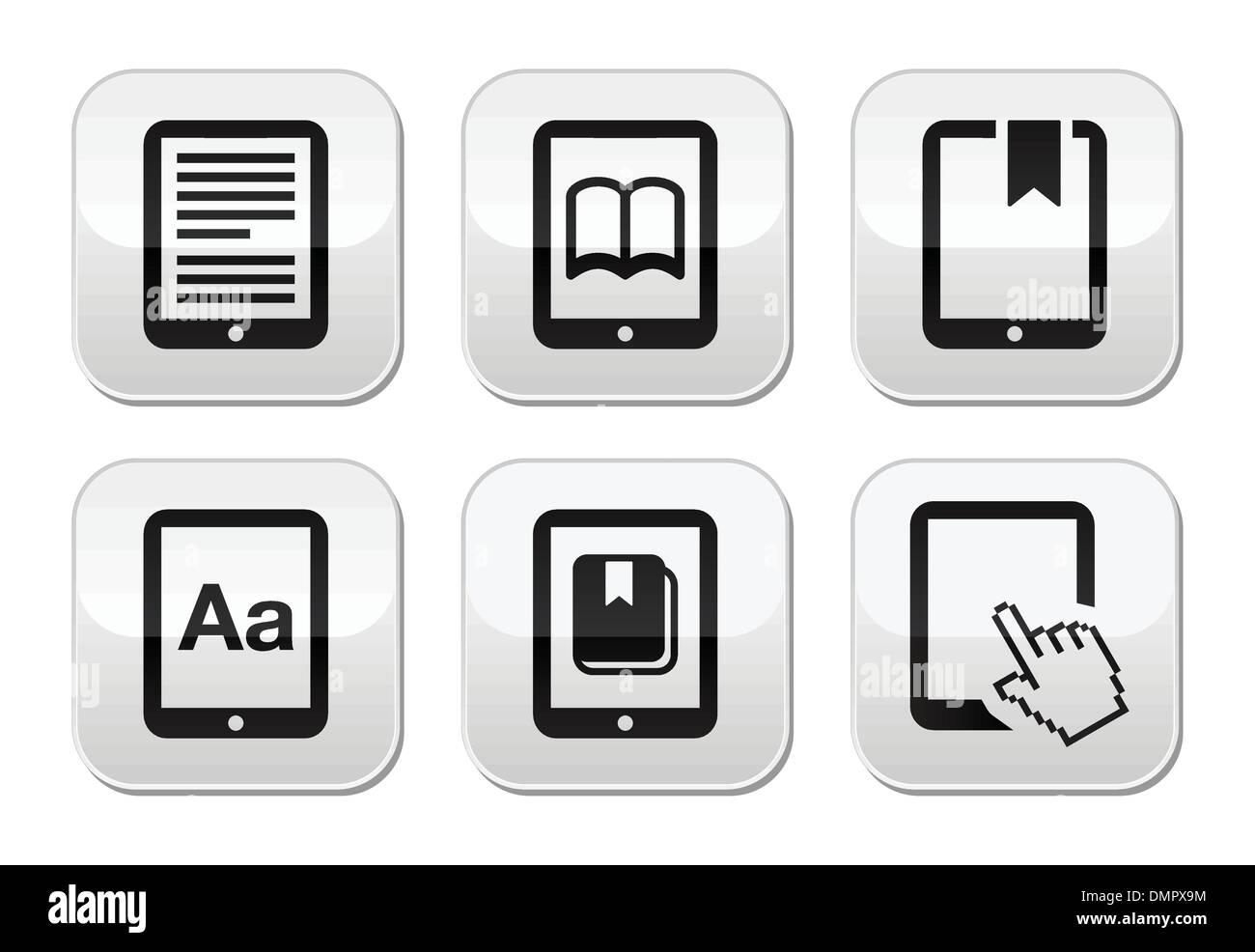 E-book reader, e-reader vector set boutons Photo Stock