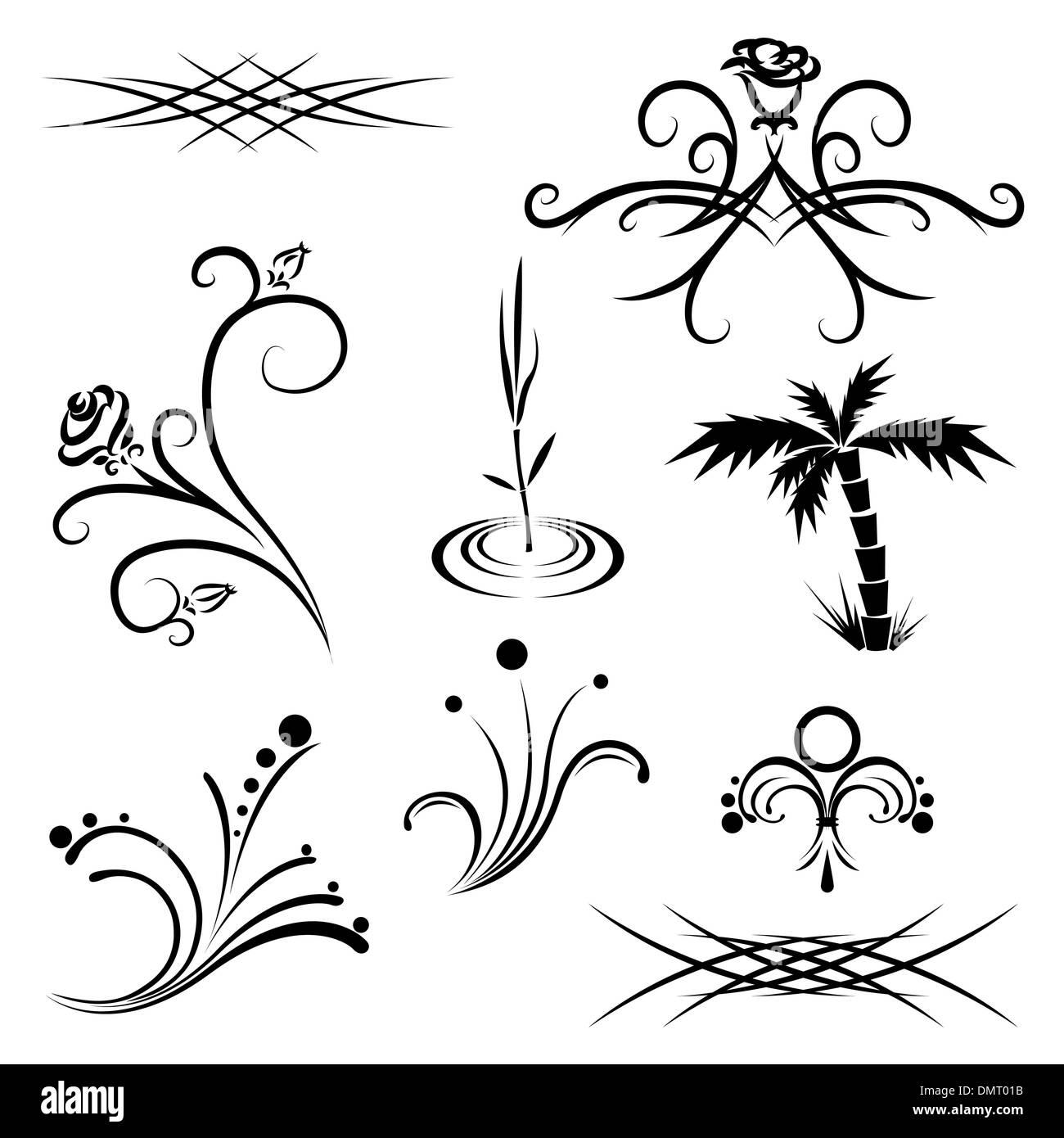 Modèles De Tatouage Végétal Noir Et Blanc Vecteurs Et