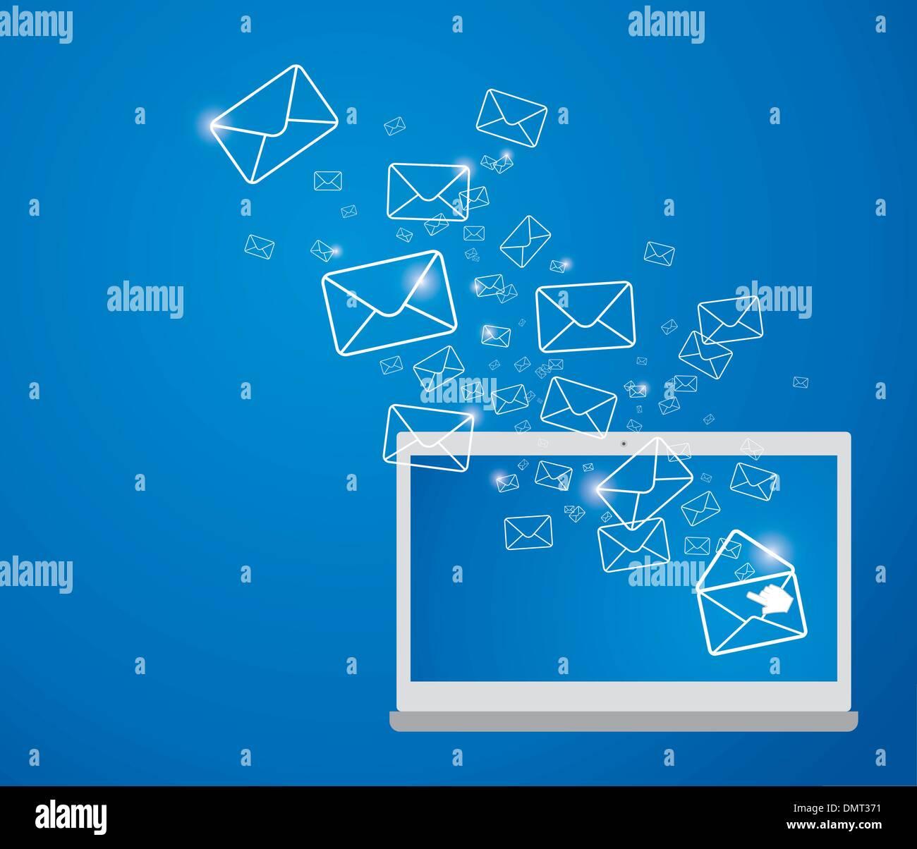 Envoi de courriers électroniques Photo Stock