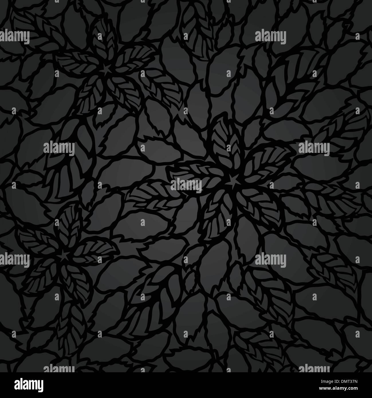 Feuilles Et Fleurs Noir Transparente Dentelle Motif Papier Peint