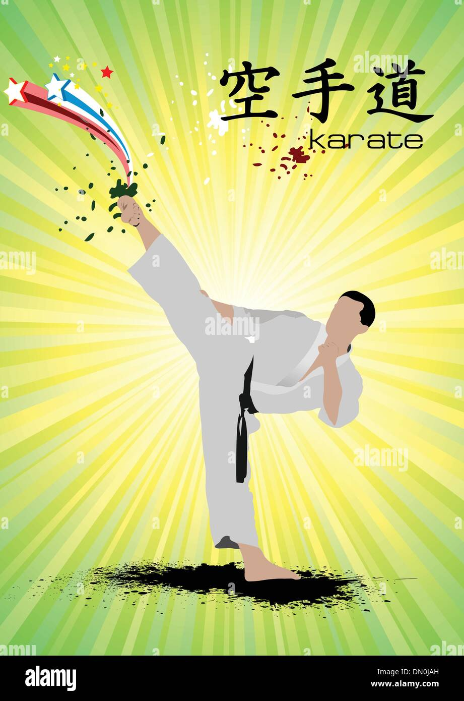 Sports de combat orientaux. Affiche de karaté. Vector illustration Photo Stock
