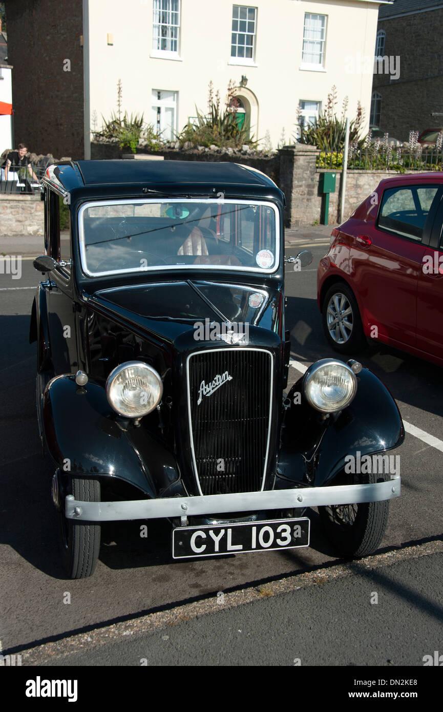Vieille voiture Austin noir classique Photo Stock
