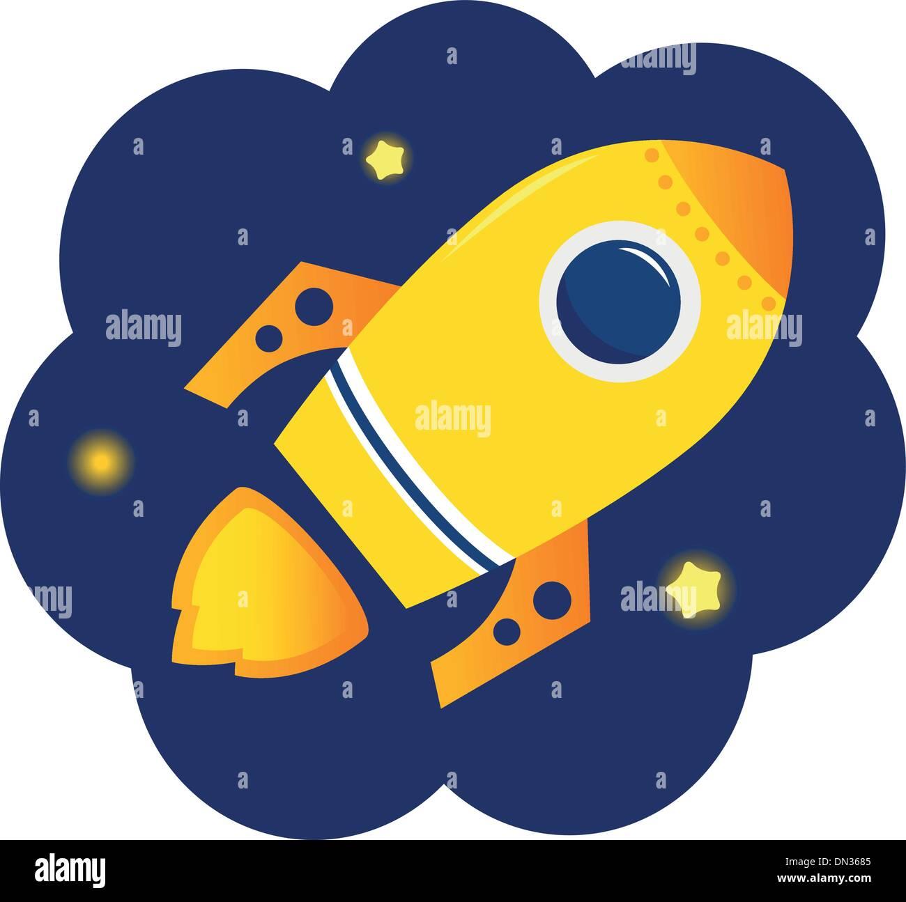 Fusée stylisé Cartoon dans l'espace avec des étoiles Photo Stock
