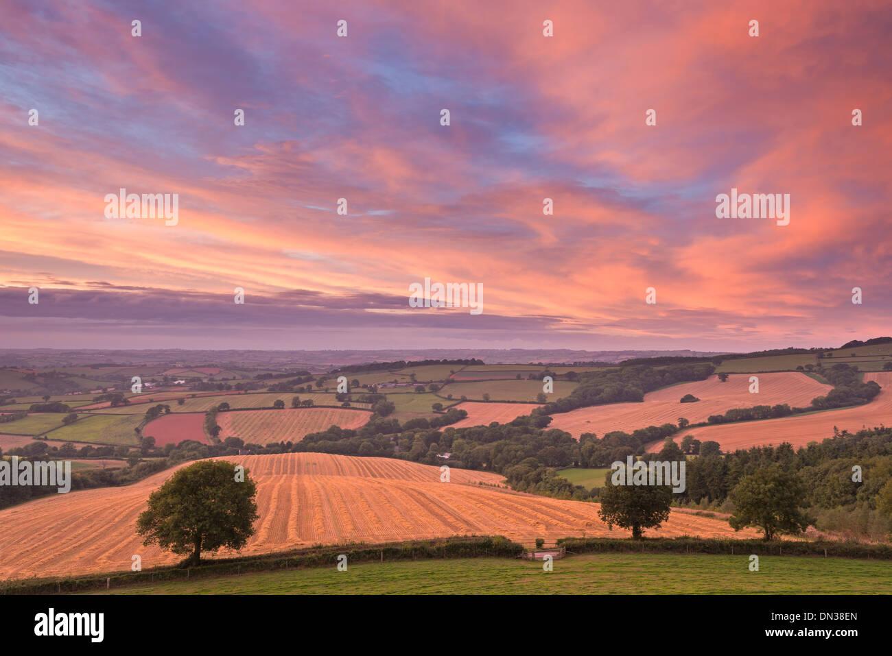 Coucher de soleil spectaculaire au-dessus de campagne du Devon, Stockleigh Pomeroy, Devon, Angleterre. L'automne (septembre) 2013. Photo Stock