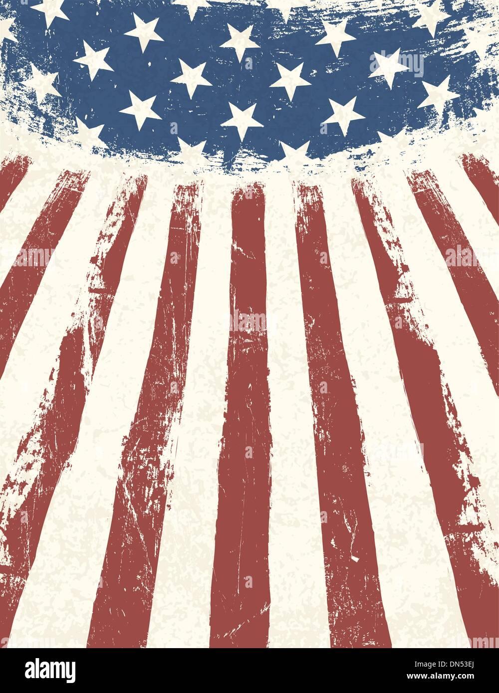 Drapeau américain en arrière-plan à thème. Vector Photo Stock