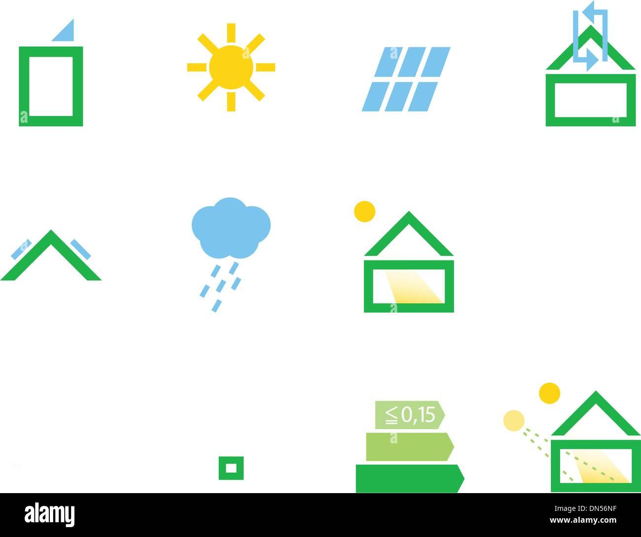 Les icônes de la maison passive isolated on white Photo Stock
